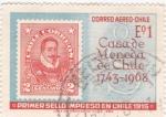 Stamps : America : Chile :  PRIMER SELLO IMPRESO EN CHILE 1915
