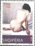 Stamps : Europe : Albania :  Nude Painting, by Vangjush Mio