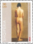Stamps : Europe : Albania :  Nude Painting, by Abdurrahim Buza