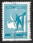 Stamps Turkey -  Soldado y mapa de Turquia
