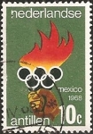 Stamps Netherlands Antilles -  Hand holding torch, & Olympic rings