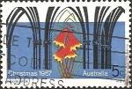 Stamps Australia -  Church facade in Gothic style, Blandfordia grandiflora