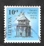 Stamps : Europe : Lithuania :  802 - Torre de madera, Iglesia Pasvalio