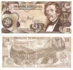 monedas del Mundo : Europa : Austria :  Austria: 20 Schilling  Jun 02,1967 P-142a.1
