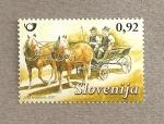 Sellos del Mundo : Europa : Eslovenia : Vehículos:Carreta arrastrada por caballo