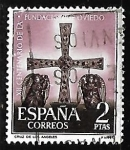 Stamps Spain -  XII centenario de la fundacion de Oviedo - Cruz de los Angeles