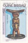 sello : Africa : Guinea_Bissau : fFIGURA CON MARFIL EN CABEZA-ZAIRE