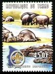 Stamps Chad -  Hipopotamos