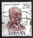 Stamps Spain -  Literatos Españoles - Miguel de Unamuno
