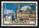 "Stamps of the world : Spain :  Dia del sello - Ignacio de Zuloaga  ""Vista se Segovia"""