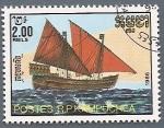 Stamps Asia - Cambodia -  Barcos de época - Galera de velas latinas