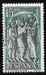 Sellos de Europa - España -  Monasterio de Santo Domingo de Silos - Detalle de un bajorrelieve del claustro