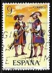 Stamps Europe - Spain -  Uniformes militares - Mosqueteros de los Tercios Morados Viejos