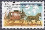 Stamps Cambodia -  Diligencia de Correos - 125º Aniv de la U.P.U.