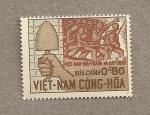 Stamps Vietnam -  Sujetando paleta y grupo soldados