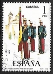 Stamps Spain -  Uniformes Militares - Abanderado de Infanteria Regimiento Immemorial del Rey