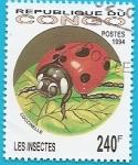 Stamps Republic of the Congo -  Insectos - Mariquita