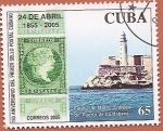 Stamps : America : Cuba :  150 aniv del primer sello cubano - Faro del morro Entrada al puerto de La Habana