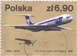 Sellos de Europa - Polonia -  50 ANIVERSARIO LINEA AEREA LOT