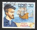 Stamps Laos -  Exploradores y barcos