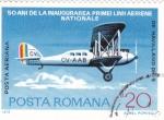 sello : Europa : Rumania : BIPLANO-50 ANIV.LINEA AEREA NACIONAL