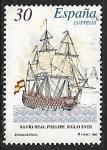 Stamps : Europe : Spain :  Barcos de Época - Navio Real Phelipe  siglo XVIII