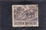 Sellos de Asia - Indonesia -  RINOCERONTE
