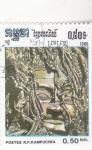 Stamps Asia - Cambodia -  CARA ESCULPIDA