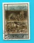 Stamps United Arab Emirates -  AJMAN - Casa del Fauno - Arte Romano - Pompeya