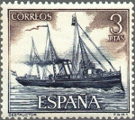 Stamps of the world : Spain :  ESPAÑA 1964 1609 Sello Nuevo Barcos Marina Española Destructor c/trazas oxido