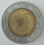 monedas de America - México -  2013 dos pesos