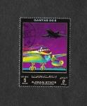 sellos de Asia - Emiratos Árabes Unidos -  Líneas Aereas y Avión