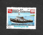 Stamps Cambodia -  Barco