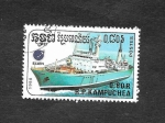 Stamps : Asia : Cambodia :  862 - Barco