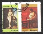 Sellos del Mundo : Asia : India : Nagaland - Pinturas de Cranach y George de La Tour