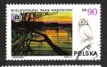 Stamps Poland -  Parques Nacionales, Parque Nacional de Wielkopolski y Tawny Owl (Strix aluco)