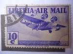 Stamps : Africa : Liberia :  Avión Trimotor - Air Mail.