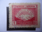sellos de America - Bolivia -  Monte illimani - La Paz, Cuna de la Libertad y Tumba de Tiranos - 1° Aniversario de la Revolución