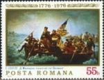 Sellos de Europa - Rumania -  Bicentenario de la Revolución Americana, Washington Cruzando el Delaware, por Leutze