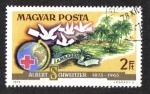 Stamps Hungary -  Dr. Albert Schweitzer, Globe, Cruz Roja, palomas mensajeras