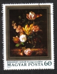 Stamps : Europe : Hungary :  Pinturas - Flores