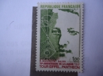 Stamps of the world : France :  Eugene Ducretet (1844-1915)-Inventor- 75 Aniversario del Enlace T.S.F, Torre Eiffel y el Panteón de