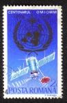 """Stamps : Europe : Romania :  Centenario de la Organización Meteorológica Mundial, satélite meteorológico """"Meteor"""" y emblema"""