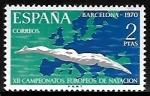 Stamps of the world : Spain :  XII Campeonatos europeos de  natación  - Barcelona 1970