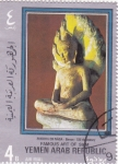 Sellos del Mundo : Asia : Yemen : Figura de Buda- Arte de Siam