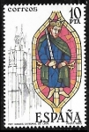 Stamps : Europe : Spain :  Vidrieras artísticas - Rey biblico Catedral de Leon