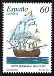 Sellos de Europa - España -  Barcos de época - Navío El Catalán siglo XVIII