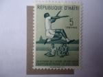 Stamps : America : Haiti :  Sylvio Cator (1900-1952)- La Victoria del Campeón del Mundo con 7,937 m (1958)