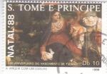 Stamps : Africa : São_Tomé_and_Príncipe :  NAVIDAD-88 LA VIRGEN CON UN CONEJO