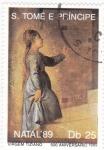 Stamps : Africa : São_Tomé_and_Príncipe :  Navidad`89 pintura-Virgem Tiziano